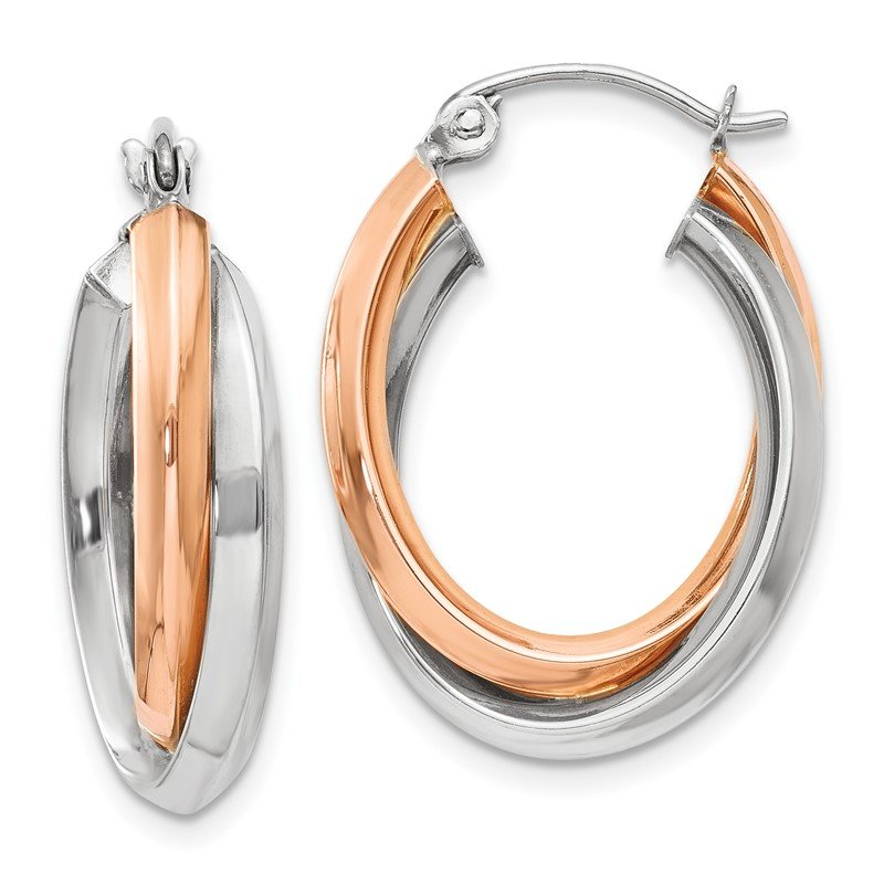 Quality Gold 14k Rose and White Gold Polished Oval Tube Hoop Earrings