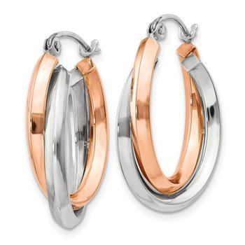 14k Rose and White Gold Polished Oval Tube Hoop Earrings