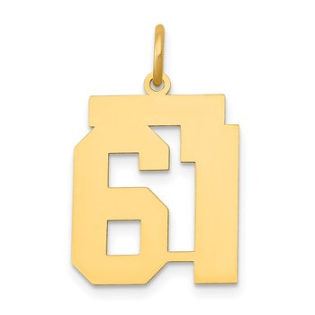 14k Medium Polished Number 61 Charm