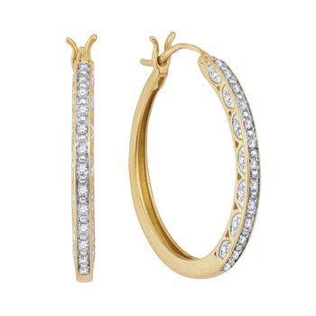10kt Yellow Gold Womens Round Diamond Hoop Earrings 1/6 Cttw
