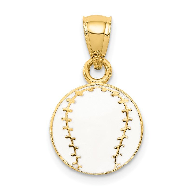Quality Gold 14k Enameled Baseball Pendant