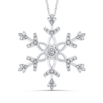 0.12 Ct Diamond Snowflake Pendant with Chain