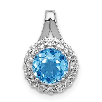 Sterling Silver Rhodium White Topaz & Lght Sw. Blue Topaz Circle Pendant