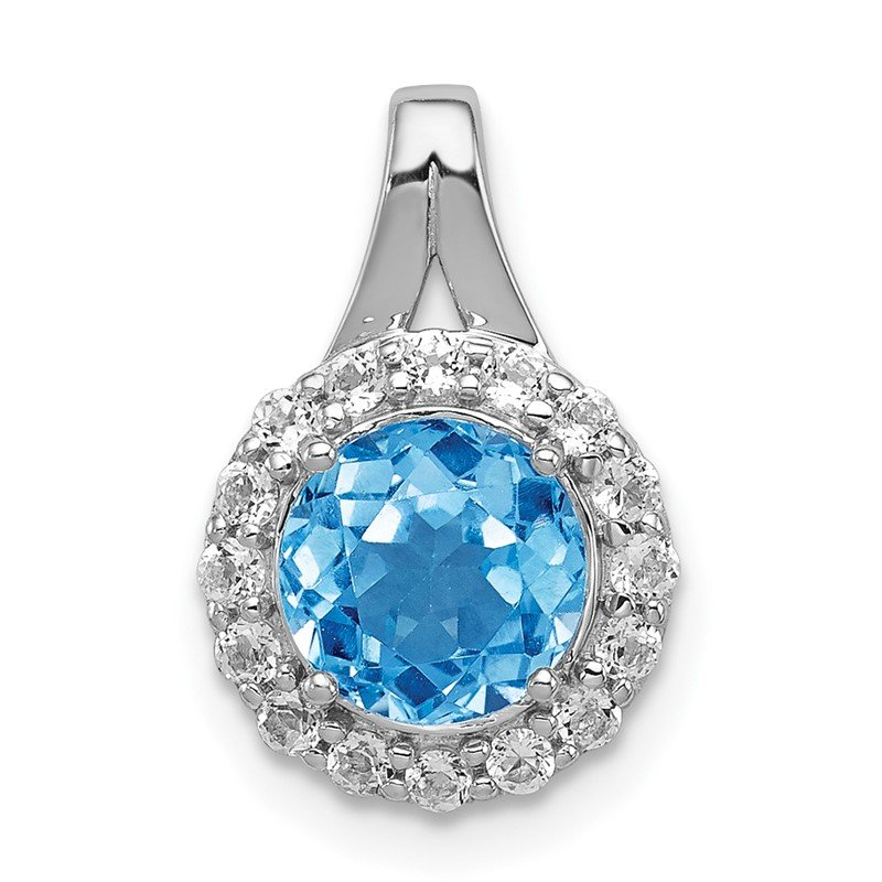 Quality Gold Sterling Silver Rhodium White Topaz & Lght Sw. Blue Topaz Circle Pendant