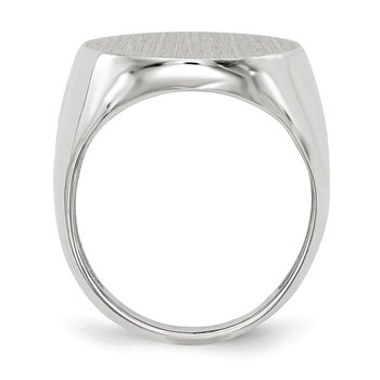 14k White Gold 20.5x17.0mm Closed Back Men's Signet Ring