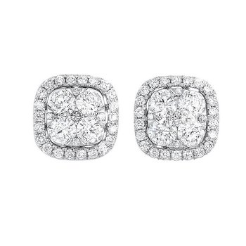 Diamond Cushion Halo Cluster Stud Earrings in 14k White Gold (1 ctw)