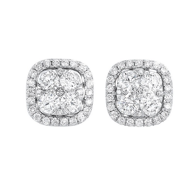 Gems One Diamond Cushion Halo Cluster Stud Earrings in 14k White Gold (1 ctw)