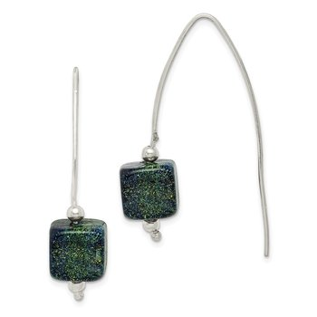 Sterling Silver Blue Dichroic Glass Thread Earrings