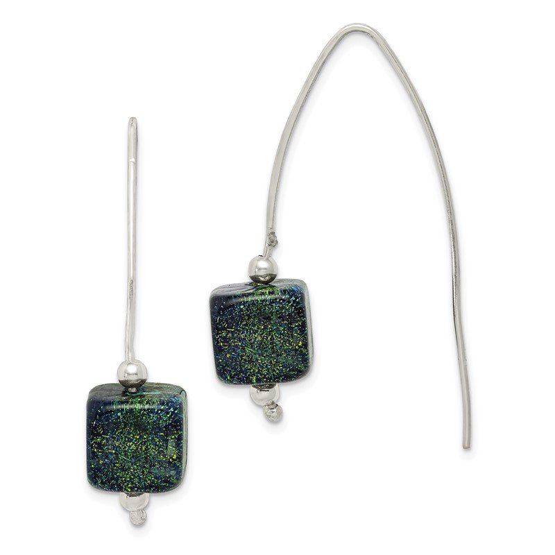 Quality Gold Sterling Silver Blue Dichroic Glass Thread Earrings