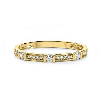 Diamond Solitaire Station Bar Stackable 3/4 Eternity Band in 14k Yellow Gold (⅙ ctw)
