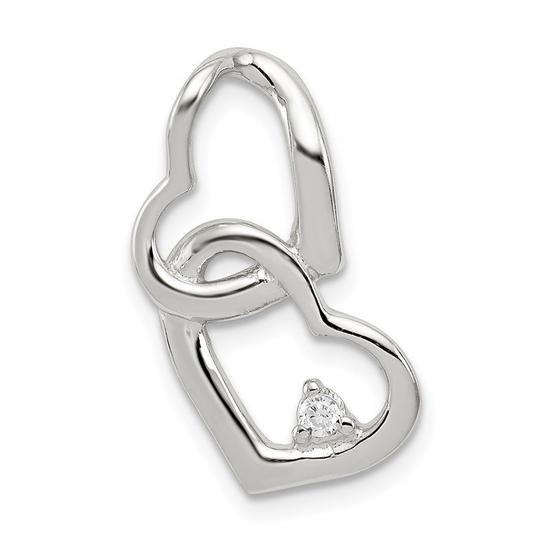 Quality Gold Sterling Silver Rhodium-plated CZ Hearts Pendant