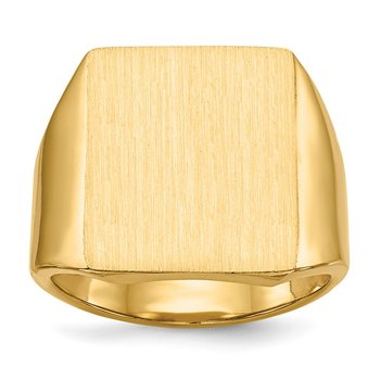 14k 15.0x17.0.0mm Closed Back Mens Signet Ring
