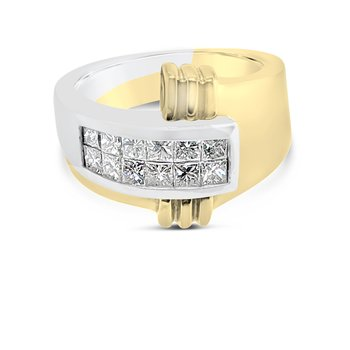 18K Yellow Gold Platinum Two Tone Diamond Wide Heavy Fashion Band