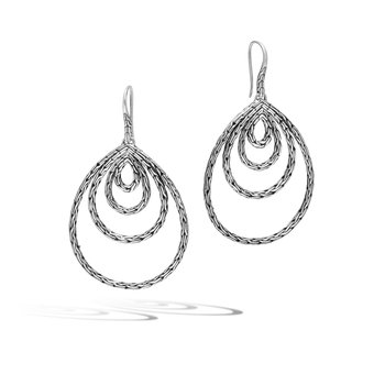 Classic Chain Carved Chain French Wire Earrings