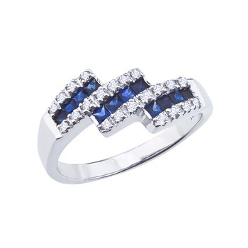 14k White Gold Sapphire and Diamond Triple Bypass Ring