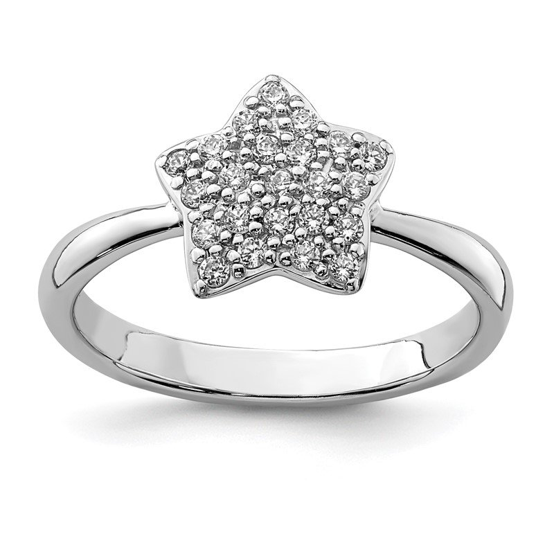 Quality Gold Sterling Silver Rhodium-plated CZ Star Ring