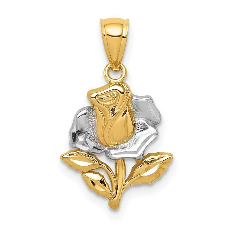 Quality Gold 14K White Rhodium Rose Pendant