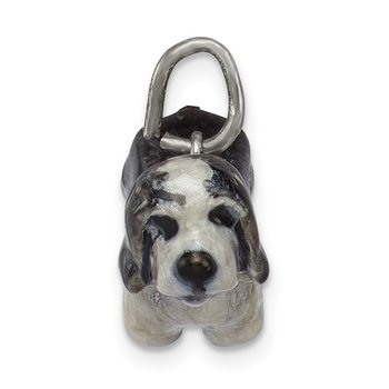 Sterling Silver Enameled Bearded Collie Charm