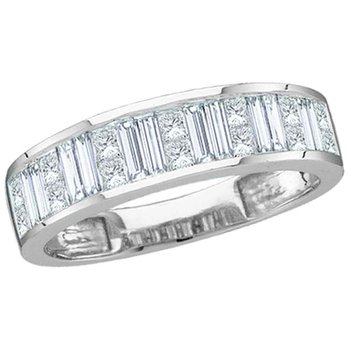 14kt White Gold Womens Baguette & Princess Diamond Wedding Anniversary Band 1.00 Cttw Size 5