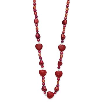 Sterling Silver Red Jade Hearts/FW Cultured Pearl Necklace