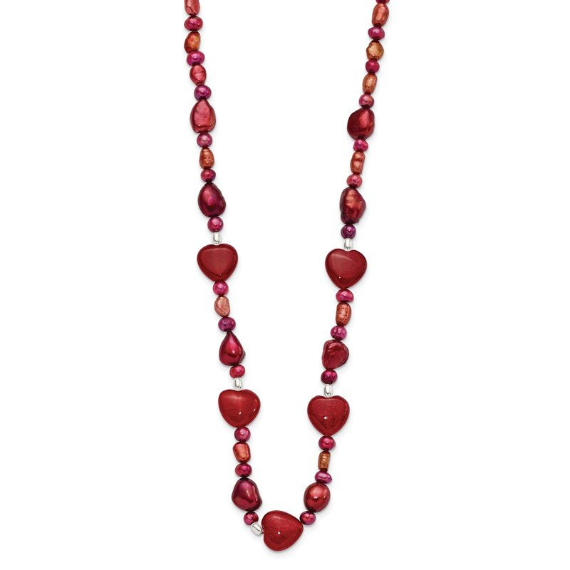 Quality Gold Sterling Silver Red Jade Hearts/FW Cultured Pearl Necklace