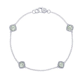 4-station bracelet with Prasiolite