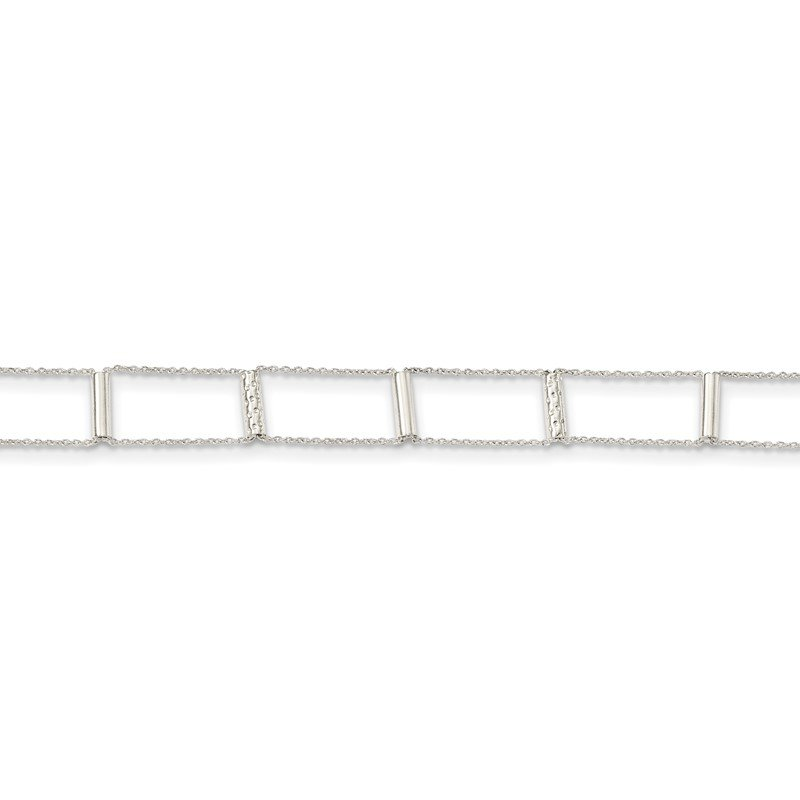 Quality Gold Sterling Silver Polished Textured Bars w/1in ext. Choker Necklace