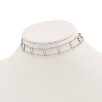 Sterling Silver Polished Textured Bars w/1in ext. Choker Necklace