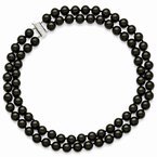 Quality Gold Sterling S Majestik Rh-pl 2 Row 10-11mm Blk Imitat Shell Pearl Necklace