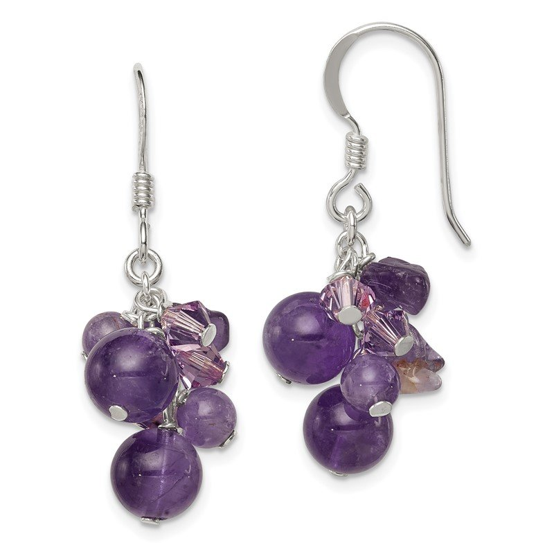 Quality Gold Sterling Silver Amethyst Bead/Lavender Crystal and Quartz Earrings