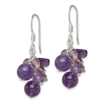 Sterling Silver Amethyst Bead/Lavender Crystal and Quartz Earrings