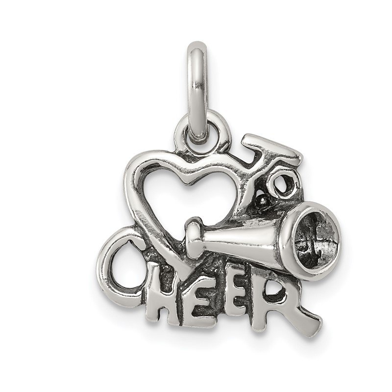 J.F. Kruse Signature Collection Sterling Silver Polished Antiqued I Love Cheer Pendant