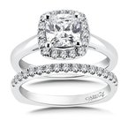 Caro74 Halo Engagement Ring Mounting in 14K White Gold with Platinum Head (.29 ct. tw.)