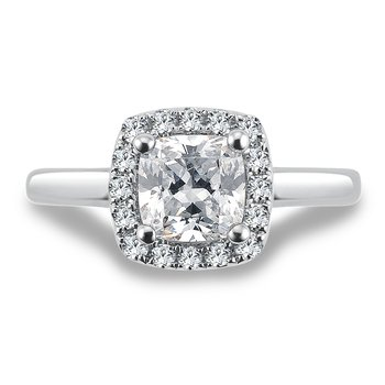 Halo Engagement Ring Mounting in 14K White Gold with Platinum Head (.29 ct. tw.)
