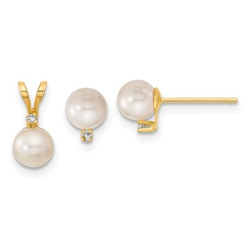 14K 5-6mm Saltwater Akoya Cultured Pearl & Dia. Earring & Pendant Set
