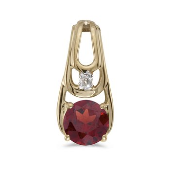 14k Yellow Gold Round Garnet And Diamond Pendant