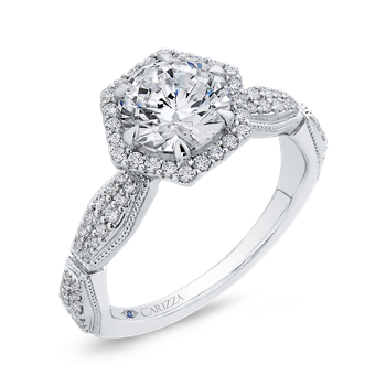 Round Diamond Halo Vintage Engagement Ring In 18K White Gold (Semi-Mount)