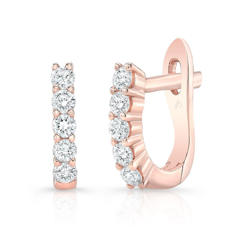Rose Gold Prong Set Mini Huggie Hoops