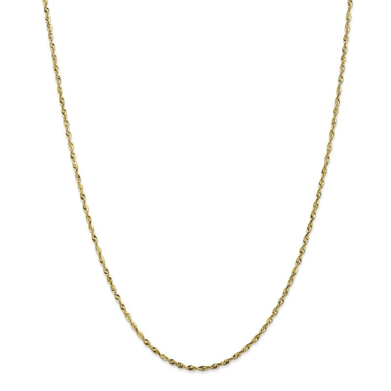 Quality Gold 10k 1.8mm Extra-Light D/C Rope Chain Anklet