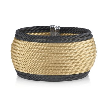 Black & Yellow Cable Oversized Cuff with 18kt Yellow Gold