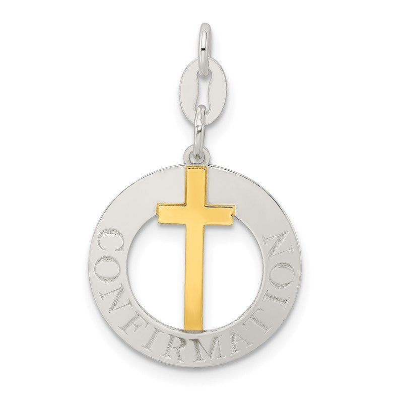 Quality Gold Sterling Silver w/Gold-tone Polished Confirmation Pendant