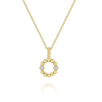 Diamond Circular Frame Pendant Set in 14 Kt. Gold