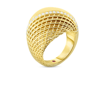 18KT GOLD DOMED RING WITH DIAMONDS