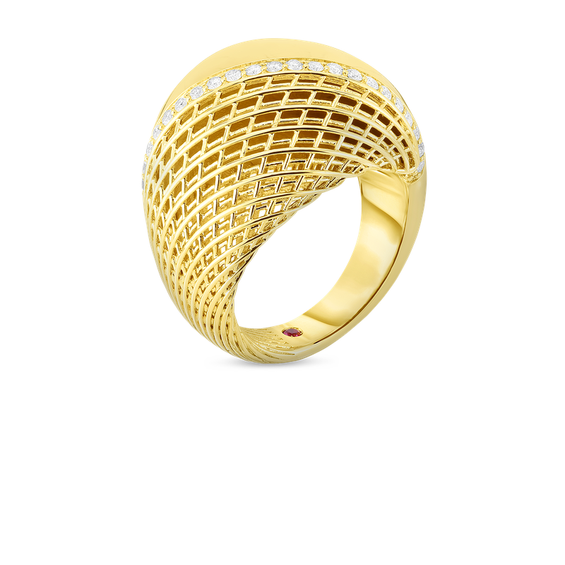 Roberto Coin 18Kt Gold Domed Ring With Diamonds