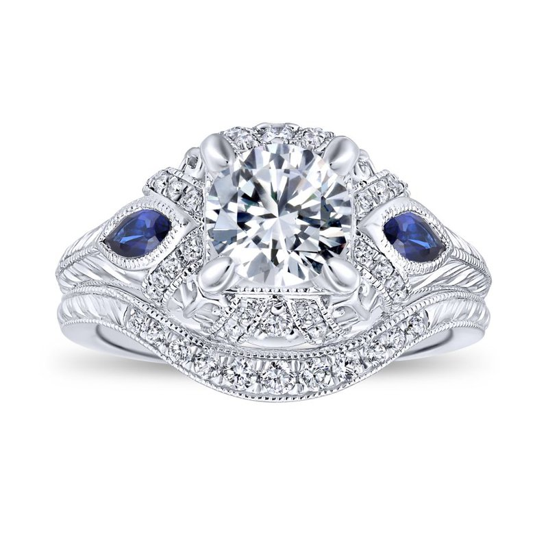 Gabriel Bridal 14K White Gold Round Sapphire and Diamond Engagement Ring