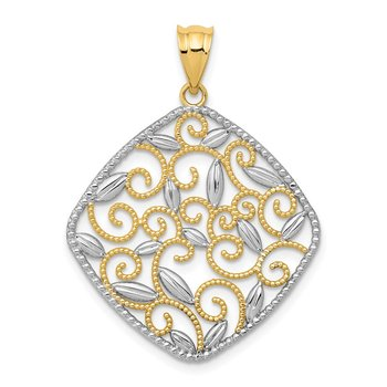 14K w/Rhodium Diamond-Cut Filigree Swirl Pendant