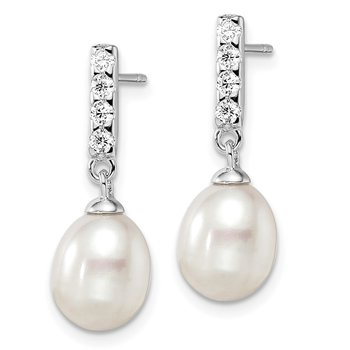 Sterling Silver Rh-plated 8-9mm White FWC Pearl CZ Post Earrings