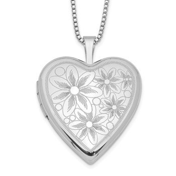 Sterling Silver Rhodium-plated 20mm with Daisies Heart Locket Necklace