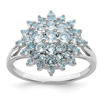 Sterling Silver Rhodium Aquamarine Ring