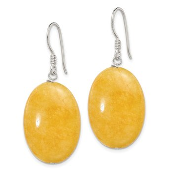 Sterling Silver Yellow Jade Earrings